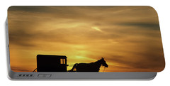 1980s Amish Horse And Buggy Silhouetted Portable Battery Charger