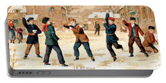 19th C. Snowball Fight Portable Battery Charger