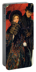 19th C. Young Couple In Winter Portable Battery Charger