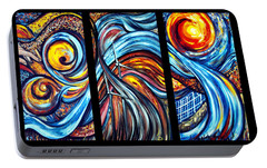 Portable Battery Charger featuring the painting A Ray Of Hope by Harsh Malik