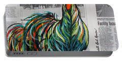 Portable Battery Charger featuring the painting A Well Read Rooster by Janice Rae Pariza