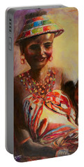 Portable Battery Charger featuring the painting African Mother And Child by Sher Nasser