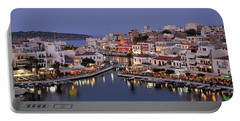 Agios Nikolaos City During Dusk Time Portable Battery Charger
