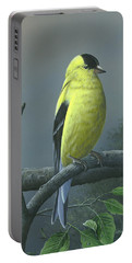 Portable Battery Charger featuring the painting American Goldfinch by Mike Brown