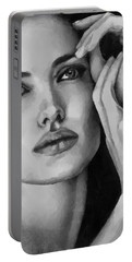 Angelina Jolie Black And Whire Portable Battery Charger