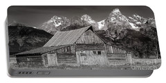 Portable Battery Charger featuring the photograph Barn And Tetons by Jerry Fornarotto