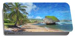 Bathsheba Beach In Barbados Portable Battery Charger by Verena Matthew