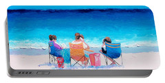 Beach Painting 'girl Friends' By Jan Matson Portable Battery Charger by Jan Matson