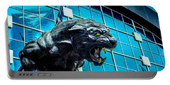 Black Panther Statue Portable Battery Charger by Alex Grichenko