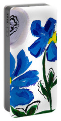 Portable Battery Charger featuring the painting 2 Blue Petunias Abstract by Frank Bright