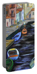 Portable Battery Charger featuring the painting Boats In Front Of The Buildings IIi by Xueling Zou