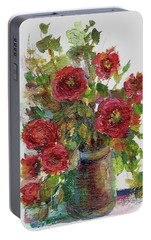 Portable Battery Charger featuring the painting Bouquet Of Poppies by Mary Wolf