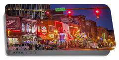 Broadway Street Nashville Portable Battery Charger by Brian Jannsen