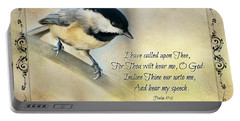 Chickadee With Verse Portable Battery Charger by Debbie Portwood