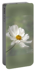 Cosmos Flower In White Portable Battery Charger