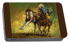 Rodeo Pickup Portable Battery Charger by Don  Langeneckert