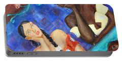 Portable Battery Charger featuring the painting Dreaming Girls by Xueling Zou
