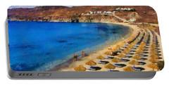 Elia Beach In Mykonos Island Portable Battery Charger