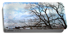 Portable Battery Charger featuring the photograph Erie Shore In Winter by John Freidenberg