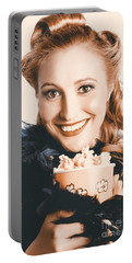Fifties Pinup Woman Seeing Movie At Retro Cinema Portable Battery Charger by Jorgo Photography - Wall Art Gallery