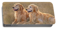 Golden Retrievers In Golden Field Portable Battery Charger
