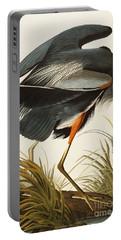 Great Blue Heron Portable Battery Charger by John James Audubon