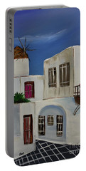 Portable Battery Charger featuring the painting Greek Village by Janice Rae Pariza