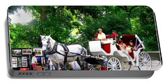 Horse And Carriage In Central Park Portable Battery Charger