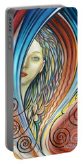 Portable Battery Charger featuring the painting Illusive Water Nymph 240908 by Selena Boron