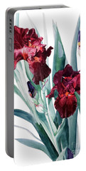 Dark Red Tall Bearded Iris Donatello Portable Battery Charger