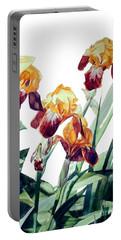 Watercolor Of Tall Bearded Irises I Call Iris La Vergine Degli Angeli Verdi Portable Battery Charger