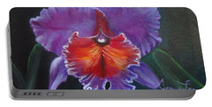 Portable Battery Charger featuring the painting Lavender Orchid by Jenny Lee