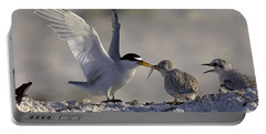 Least Tern Feeding It's Young Portable Battery Charger by Meg Rousher