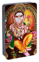 Portable Battery Charger featuring the painting Lord Ganesha by Harsh Malik