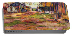 Main Street Of Early Spanish California Days San Juan Bautista Rowena M Abdy Early California Artist Portable Battery Charger
