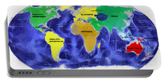 Map Of The World Portable Battery Charger by Georgi Dimitrov