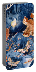 Portable Battery Charger featuring the painting Moths To A Flame by Katherine Miller