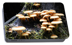 Portable Battery Charger featuring the photograph Mushrooms On A Stump by Chalet Roome-Rigdon