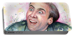 Nicolas Cage You Don't Say Watercolor Portrait Portable Battery Charger