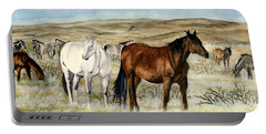 Portable Battery Charger featuring the painting Nine Horses by Melly Terpening