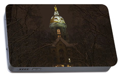 Notre Dame Golden Dome Snow Portable Battery Charger by John Stephens