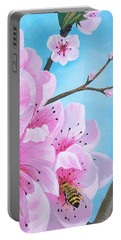 #2 Of Diptych Peach Tree In Bloom Portable Battery Charger
