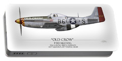 Old Crow P-51 Mustang - White Background Portable Battery Charger