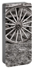 Old Wagon Wheel On Cart Portable Battery Charger