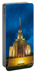 Oquirrh Mountain Lds Temple Evening Thunderstorm Portable Battery Charger