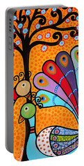 Portable Battery Charger featuring the painting 2 Peacocks And Tree by Pristine Cartera Turkus
