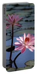 Pink Water Lily In The Spotlight Portable Battery Charger