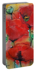 Poppies I Portable Battery Charger by Jani Freimann