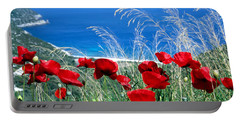 Poppy Flowers Portable Battery Charger by George Atsametakis