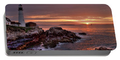 Portable Battery Charger featuring the photograph Portland Head Lighthouse Sunrise by Alana Ranney